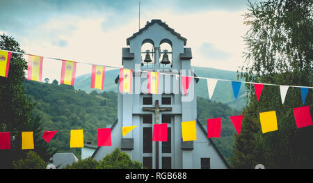 Saint-Lary-Soulan, France - August 20, 2018: architecture detail of Saint Bertrand de Comminges church in the city center on a summer day - Stock Photo