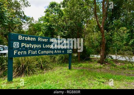 Broken river platypus walk, platypus lodge restaurant, fern flat camping area sign, Broken River tourist information centre, Eungella National Park. - Stock Photo