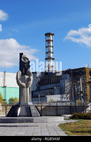 The Chernobyl Nuclear Power Plant sarcophagus covering reactor number 4 that was replaced in 2017 - Stock Photo