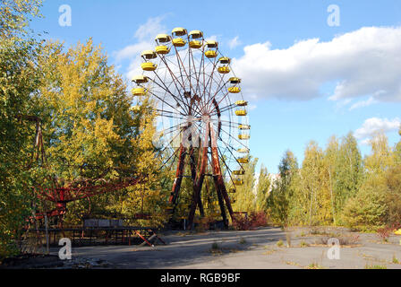 The abandoned streets and buildings in the town of Pripyat in the Chernobyl Exclusion Zone, Ukraine - Stock Photo