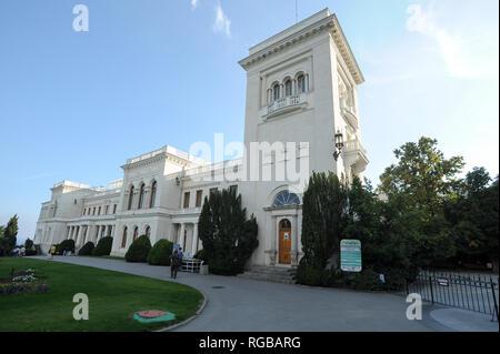 Neo Renaissance Liwadijskij dworiec (Livadia Palace) in Livadia in Yalta, Crimea, Ukraine. October 1st 2008, built 1910 to 1911 designed by Nikolay Kr - Stock Photo
