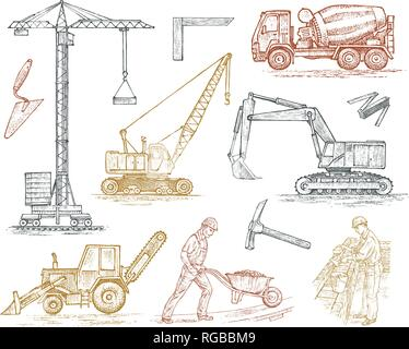 Engineering vehicle. Heavy equipment for the construction of buildings. Agricultural machinery. Crane and agrimotor, tractor and excavator, concrete - Stock Photo