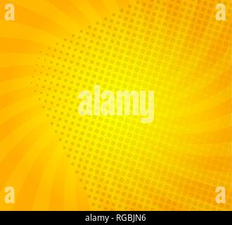 Sunburst on yellow background with dots. Template for your design, concept of hot summer. Spiral sun rays.Vector illustration. - Stock Photo