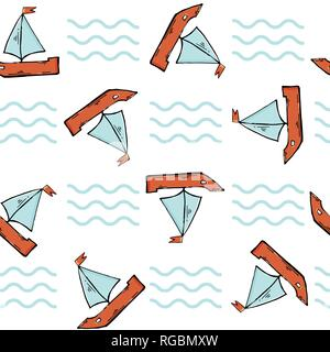 Vector seamless pattern with red boat on a white background. - Stock Photo