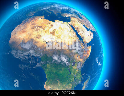 Physical map of the world, satellite view of North and central Africa. Globe. Hemisphere. Reliefs and oceans. 3d rendering. Nasa - Stock Photo