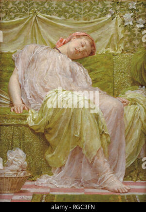 A workbasket. Date/Period: 1879. Painting. Oil on canvas. Height: 36.80 mm (1.44 in); Width: 27.30 mm (1.07 in). Author: Albert Joseph Moore. - Stock Photo