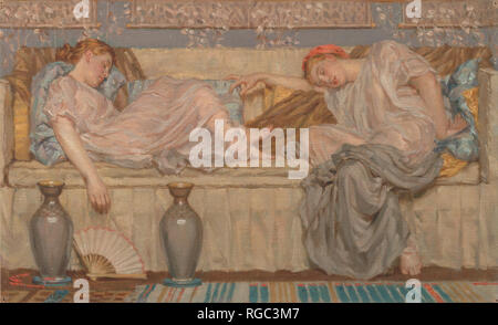 Beads (study). Date/Period: Ca. 1875. Painting. Oil on canvas. Height: 298 mm (11.73 in); Width: 489 mm (19.25 in). Author: Albert Joseph Moore. - Stock Photo