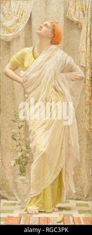 Canaries. Date/Period: From 1875 until 1880. Painting. Oil on canvas. Height: 157.2 cm (61.8 in); Width: 64.7 cm (25.4 in). Author: Albert Joseph Moore. - Stock Photo