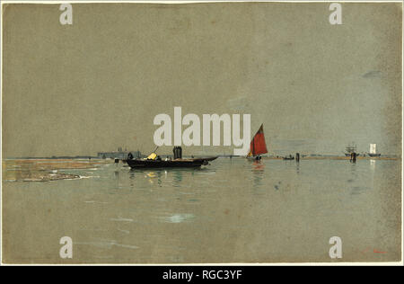 A Venetian Lagoon. Dated: 1871/1874. Dimensions: sheet: 36.5 × 55.9 cm (14 3/8 × 22 in.). Medium: pen and brown ink with watercolor and gouache over graphite, with white heightening, on blue-gray wove paper. Museum: National Gallery of Art, Washington DC. Author: William Stanley Haseltine. - Stock Photo