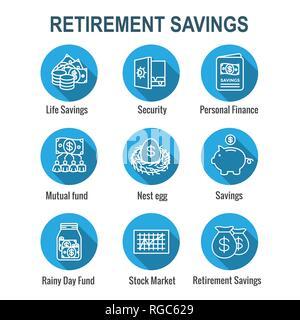 Retirement Account & Savings Icon Set - Mutual Fund, Roth IRA, etc - Stock Photo