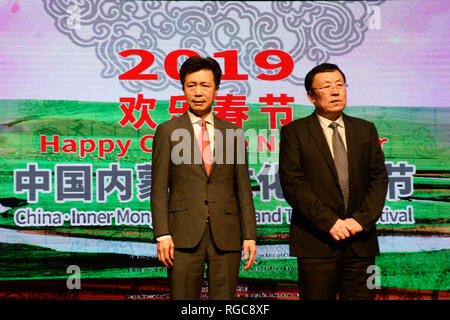 Kolkata, India. 28th Jan, 2019. Chinese Consul General Zha Liyou (left) during The Happy Chinese New Year performance ahead of Chines New Year, schedule on February 05. Credit: Saikat Paul/Pacific Press/Alamy Live News - Stock Photo