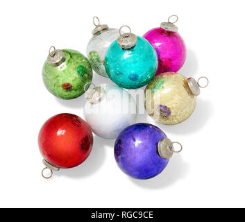 A group of 8 classic glass Christmas ornaments photographed on a white background. - Stock Photo