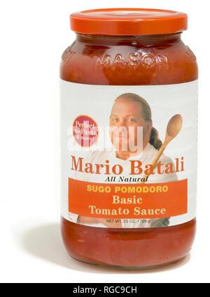 mario batali pasta sauce jar photographed on white - Stock Photo