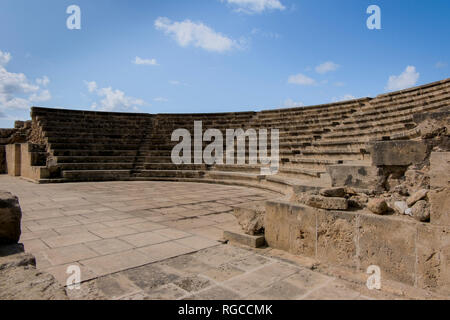 The Odeon ampitheater at Paphos Archeological Park in Cyprus. - Stock Photo