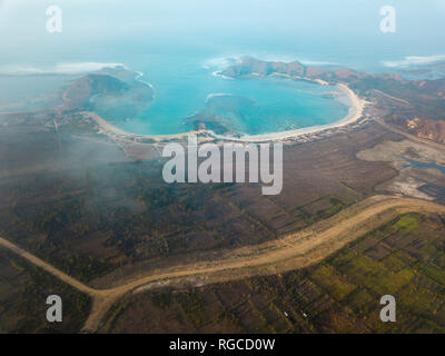 Indonesia, Lombok, Aerial view of bay - Stock Photo
