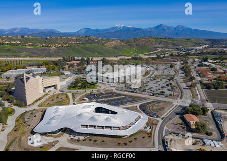 Aerial view of the Student Services Building of Cal Poly Pomona campus, California - Stock Photo