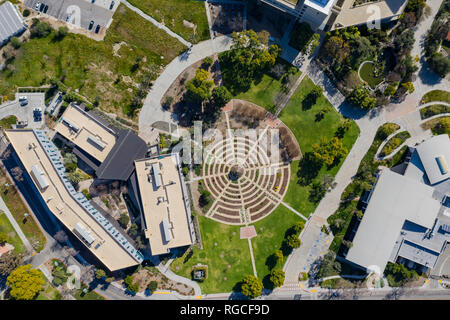 Aerial plan view of the beautiful rose garden of Cal Poly Pomona at Los Angeles County, California - Stock Photo