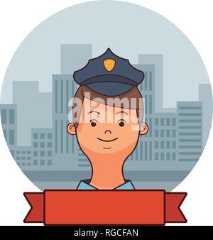 police man face cartoon - Stock Photo