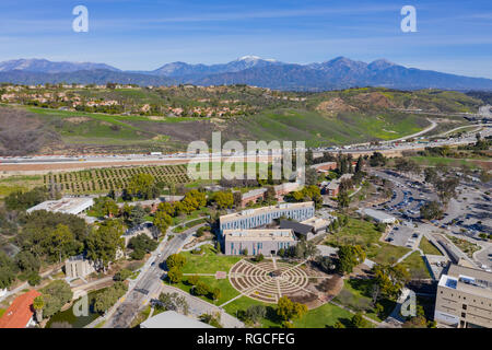 Aerial view of the beautiful rose garden with Mount Baldy of Cal Poly Pomona at Los Angeles County, California - Stock Photo
