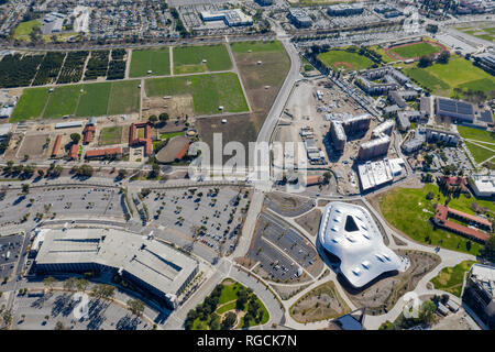 Aerial plan view of the Cal Poly Pomona campus, California - Stock Photo