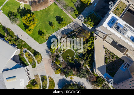 Aerial plan view of the Japanese Garden in Cal Poly Pomona campus, California - Stock Photo