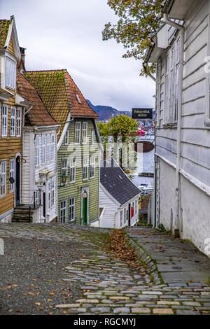 Norway, Hordaland, Bergen, Historic old town, Gamle Bergen - Stock Photo