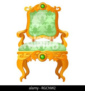 Golden fairy tale royal throne with a print in the form of a green frog isolated on white background. Vector cartoon close-up illustration. - Stock Photo