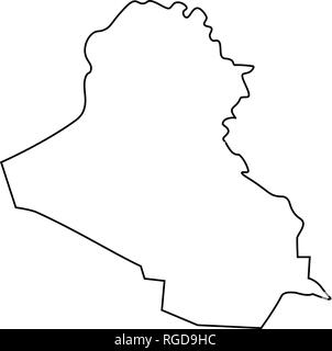 Map of Iraq - outline  Silhouette of Iraq map vector illustration