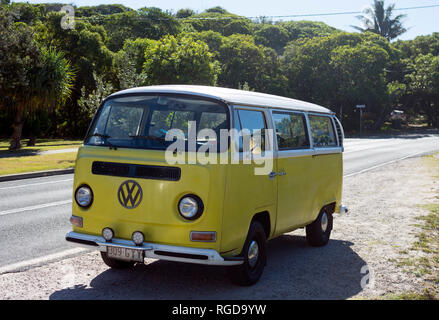 VW campervan at Point Lookout, North Stradbroke Island, Queensland, Australia - Stock Photo