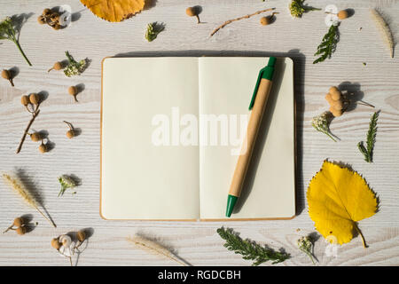Autumn fruits and notes on a wooden table - Stock Photo