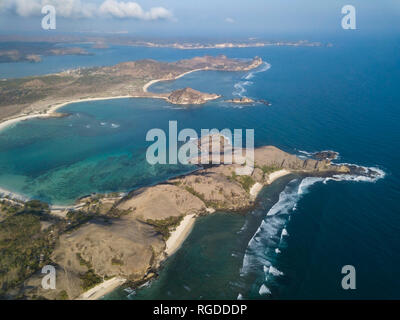 Indonesia, Lombok, Aerial view of coast - Stock Photo