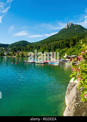 Austria, Upper Austria, Salzkammergut, Lake Fuschlsee - Stock Photo