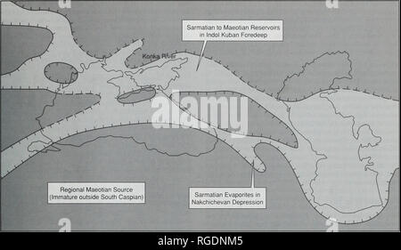 . Bulletin of the Natural Histort Museum. Geology series. REVIEW OF STRATIGRAPHY OF EASTERN PARATETHYS 37. Fig. 10 Palaeogeographic reconstruction. Konkian to Maeotian (late Middle to early Late Miocene). Key as for Fig. 7. The location of the Konkian stratotype is indicated. hinterland. The predominance of Taxodiaceae (cypresses and swamp-cypresses) indicates a warm-temperate (possibly even subtropical) climatic regime. Sarmatian (Fig. 10) The Sarmatian of Eastern Paratethys is probably equivalent to the stratotypical Sarmatian of Central Paratethys (late Middle to early Late Miocene (calcare - Stock Photo