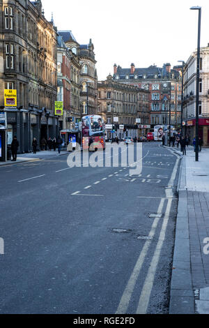 A view along Boar Lane in Leeds City Centre a busy thoroughfare with an illustrious history - Stock Photo