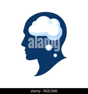 Silhouette of a head with a cloud vector illustation isolated on white background. Thought in the head of man. Cloud in human head - Stock Photo