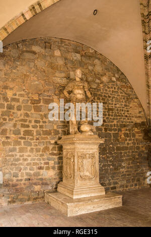 Statue of Roman Soldier, Hill town Montalcino, Tuscany, Italy - Stock Photo