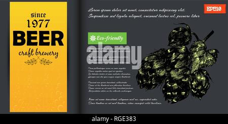 Dark brochure template with beer hop in engraving style with color. Vector illustration. - Stock Photo
