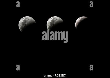 Photographic sequence of the lunar eclipse occurred on the night of January 20, 2019, seen from the city of Santa Clara, Cuba - Stock Photo