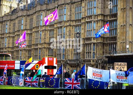 London,UK. 29th Jan 2019. Flags and placards  opposite the House of Parliament, Westminster ahead of MP's voting on a number of amendments to PM Theresa May's draft Brexit Agreement later today.  Credit: Claire Doherty/Alamy Live News - Stock Photo
