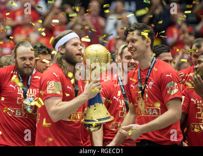 Award ceremony, jubilation goalkeeper Niklas LANDIN r. (DEN) and Mikkel HANSEN l. (DEN) with Cup, Final, Norway (NOR) - Denmark (DEN), on 27.01.2019 in Herning/Denmark Handball World Cup 2019, from 10.01. - 27.01.2019 in Germany/Denmark. | usage worldwide - Stock Photo