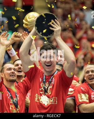 Award ceremony, jubilation goalkeeper Niklas LANDIN r. (DEN) with Cup, Final, Norway (NOR) - Denmark (DEN), on 27.01.2019 in Herning/Denmark Handball World Cup 2019, from 10.01. - 27.01.2019 in Germany/Denmark. | usage worldwide - Stock Photo