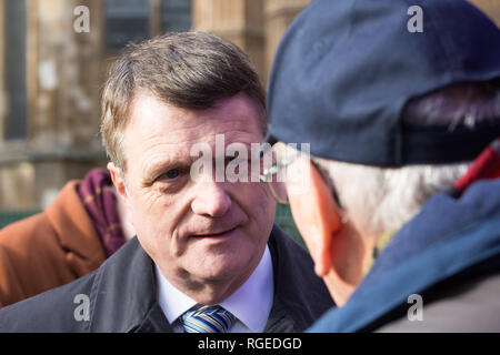 London, UK. 29th Jan, 2019. Gerard Batten, Leader of UKIP, talks to supporters and the media outside the Houses of Parliament . Credit: George Cracknell Wright/Alamy Live News - Stock Photo