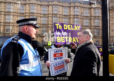 "London, UK. 29th Jan, 2019. ""Leave Means Leave"" supporters congregate outside Parliament ahead of Brexit vote. Credit: Brian Minkoff/Alamy Live News - Stock Photo"