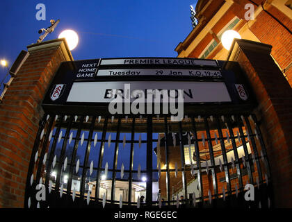 Craven Cottage, London, UK. 29th Jan, 2019. EPL Premier League football, Fulham versus Brighton and Hove Albion; Main gate advertising the game against Brighton outside Craven Cottage before kick off Credit: Action Plus Sports/Alamy Live News - Stock Photo