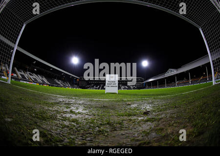 Craven Cottage, London, UK. 29th Jan, 2019. EPL Premier League football, Fulham versus Brighton and Hove Albion; General view of inside the goal mouth at Craven Cottage before kick off Credit: Action Plus Sports/Alamy Live News - Stock Photo