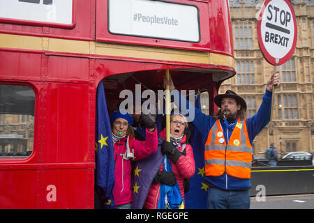 London UK 29th Jan 2019 Pro-EU protesters demonstrate on a bus near the Houses of Parliament on the day MPs vote on EU withdrawal deal amendments. Credit: Thabo Jaiyesimi/Alamy Live News - Stock Photo