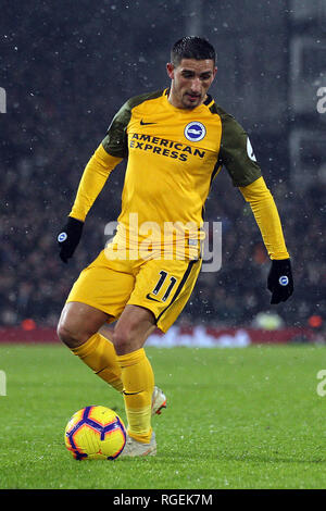 London, UK. 29th January, 2019. Anthony Knockaert of Brighton & Hove Albion in action. Premier League match, Fulham v Brighton & Hove Albion at Craven Cottage in London on Tuesday 29th January 2019.  this image may only be used for Editorial purposes. Editorial use only, license required for commercial use. No use in betting, games or a single club/league/player publications. pic by Steffan Bowen/Andrew Orchard sports photography/Alamy Live news - Stock Photo