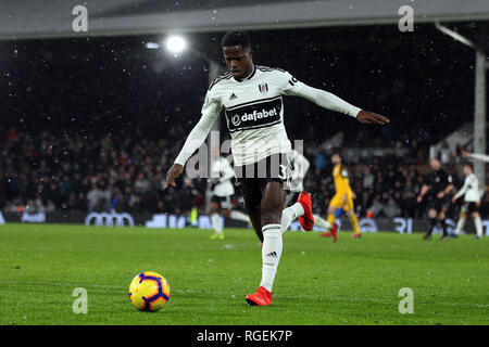 London, UK. 29th January, 2019. Ryan Sessegnon of Fulham in action. Premier League match, Fulham v Brighton & Hove Albion at Craven Cottage in London on Tuesday 29th January 2019.  this image may only be used for Editorial purposes. Editorial use only, license required for commercial use. No use in betting, games or a single club/league/player publications. pic by Steffan Bowen/Andrew Orchard sports photography/Alamy Live news - Stock Photo