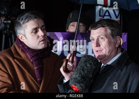 London, UK. 29th January, 2019. Leader of UKIP Gerard Batten is interviewed outside Parliament as MPs vote on amendments to the Prime Minister's final Brexit withdrawal agreement which could determine the content of the next stage of negotiations with the European Union. Credit: Mark Kerrison/Alamy Live News - Stock Photo