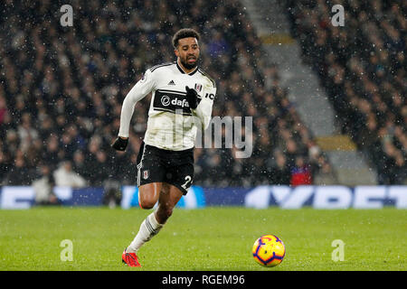 London, UK. 29th January, 2019. Cyrus Christie of Fulham during the Premier League match between Fulham and Brighton and Hove Albion at Craven Cottage, London, England on 29 January 2019. Photo by Carlton Myrie.  Editorial use only, license required for commercial use. No use in betting, games or a single club/league/player publications. Credit: UK Sports Pics Ltd/Alamy Live News - Stock Photo